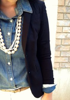 pearls, chambray & navy blazer with white jeans -- love this classic combo!!