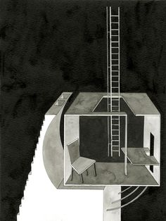 Stairs to the Last Chamber -- 2010 9″ x 12″ Sumi ink on watercolor paper -- 101-Mentor Noci-05 -- http://mentornoci.blogspot.com/