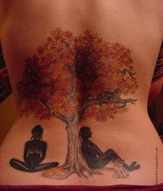 My friend Erin's tatoo (Lady In The Tree) Music Tattoos, Rose Tattoos, Flower Tattoos, New Tattoos, Tree Tattoo Designs, Tattoo Designs For Women, Tattoo Girls, Bodhi Tree Tattoo, Blackwork