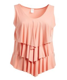 Peach Tiered Tank - Plus | zulily