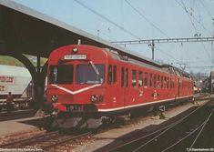 """Zweiwagenzug: EBT Steuerwagen Bt 325 und Hochleistungstriebwagen RBDe 4/4 225"""" Swiss Railways, History, Trains, Europe, Locomotive, Pictures, Historia"""