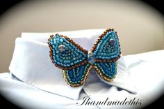 Turquoise beaded butterfly bow tie beads by Ihandmadethis on Etsy Turquoise Beads, Turquoise Bracelet, Handmade Jewelry, Unique Jewelry, Handmade Gifts, Women Bow Tie, Beaded Embroidery, Seed Beads, Cuff Bracelets