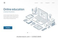 Online education modern isometric line illustration. Landing page template Isometric Sketch, Page Template, Templates, Line Illustration, Vector Background, Design Development, Certificate, Landing, Distance