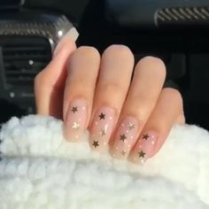 Stars on Blush nail art design - Celestial nail art inspiration Informations About Stars on Blush nail art design - Celestial nail art inspiration P Blush Nails, Polygel Nails, Star Nails, Gold Nails, Nail Nail, Uñas Kylie Jenner, Gender Reveal Nails, Star Nail Designs, Lavender Nails
