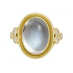 Temple St. Clair Classic Color 18K Yellow Gold Blue Moonstone & Diamond Ring