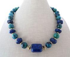 Collana girocollo con crisocolla verde e lapislazzuli blu, gioielli fatti a mano