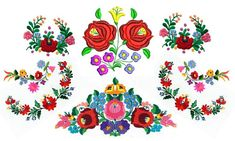 Hungarian Embroidery Patterns Kalocsa: home to the widely famous Hungarian souvenir Hungarian Tattoo, Hungarian Embroidery, Folk Embroidery, Learn Embroidery, Embroidery Tattoo, Chain Stitch Embroidery, Embroidery Stitches, Embroidery Patterns, Stitch Head
