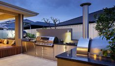 85 Best Outdoor Kitchen and Grill Ideas for Summer Backyard Barbeque Modern Outdoor Kitchen, Outdoor Kitchen Cabinets, Outdoor Kitchen Bars, Rustic Outdoor, Outdoor Spaces, Outdoor Living, Outdoor Decor, Outdoor Kitchens, Modern Backyard