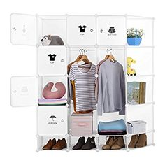 LANGRIA DIY Interlocking 4 Columns 5 Tiers 20 Cube Storage Unit Wardrobe Cube Organiser with 6 Doors, Corner Shelves, 2 Closet Rods, Shoe Cubbies and Stickers, 147*37*165 CM, Milky White