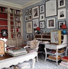 Charlotte Moss's study: Pale blue + white + red accents by xJavierx, via Flickr