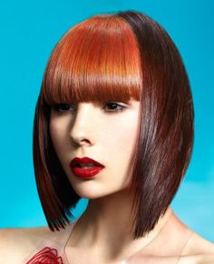 A Medium Brown straight coloured multi-tonal defined-fringe womens haircut hairstyle by Papas & Pace