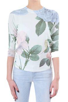 7558e366aef70 Ted Baker Womens Naldine Distinguishing Rose Pastel Floral Sweater  https   www.blueberries