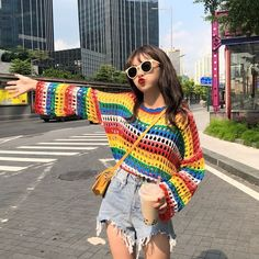 Rainbow Striped Knit Hollow Out Women's Pullover - Queerks™ Pride Clothing, Woolen Craft, Pride Outfit, Knitwear Fashion, Crochet Cardigan, Crochet Fashion, Mode Inspiration, Striped Knit, Crochet Clothes