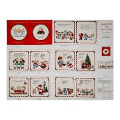 Deck the Halls Soft Book Panel Cream from @fabricdotcom  Designed by Ami! Morehead for Elizabeth's Studio, this cotton panel is designed to make your own Christmas themed soft book.  Colors include cream, black, red, green, grey, yellow, brown and white.  This panel measures approximately 35.5'' x 44''.