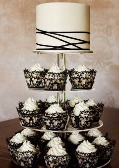 Black and White Ribbon and Lace Wedding Cake and Cupcakes