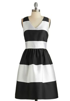Fated Fete Dress - Prom, Party, Black, White, Stripes, Special Occasion, Sleeveless, Better, V Neck, Mid-length, Pockets