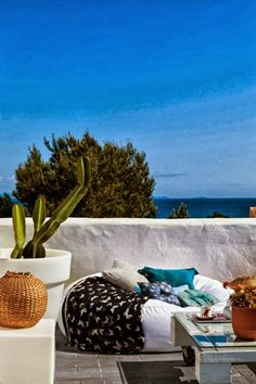 Lounging in Formentera, Spain Mediterranean Houses, Mediterranean Style, Outdoor Sofa, Outdoor Spaces, Outdoor Living, Outdoor Decor, Ibiza, Formentera Spain, My Ideal Home