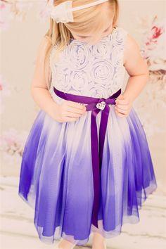 Style 322 Kid's Dream: Girls' Special Occasion Dress Line. Ombre Dress. Colors: Aqua, purple, fushia, red Sizes: 2-14 #flowersgirls #weddingdress #weddingmagic #ombre