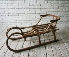 wooden sled, handmade Sledge made by the old Austrian technology, all production steps manually perform. Beech and oak wood  length 115cm-46LN width 25cm-10ln height 38cm-15LN backrest height 25cm-10ln  Delivery to USA, EU, Canada