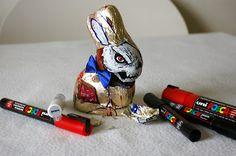 Artist: OSKUNK ~ Blog: Custom Art ~ This custom Easter Zombie chocolate bunny is great!