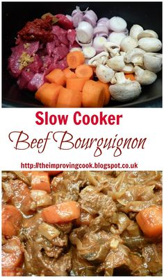 The Improving Cook: Slow Cooker Beef Bourguignon recipe. This slow cooker recipe is great for batch cooking freezer meals Slow Cooking, Slow Cooked Meals, Slow Cooker Beef, Slow Cooker Recipes, Crockpot Recipes, Healthy Recipes, Slower Cooker, Batch Cooking Freezer, Beef Bourguignon Slow Cooker