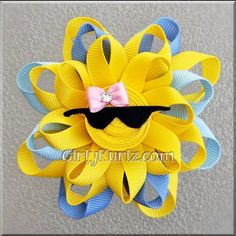 BLUE Sun Ribbon Sculpture Hair Clip Loopy Hair Bow by GirlyKurlz
