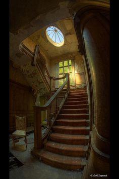 Potter's Manor, England - the main staircase, which had been in good condition only weeks before this photograph, until vandals destroyed it.