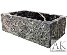 Rectangular Stone Tub carved from a solid piece of marble. Marble Bathroom Ideas