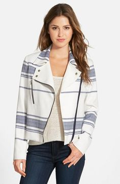 Adrianna Papell Stripe Tweed Moto Jacket available at #Nordstrom