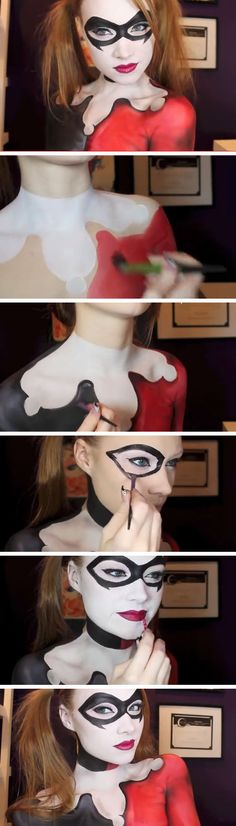 Harley Quinn - Batman Makeup & Body Paint Tutorial | Click Pic for 22 Easy DIY Halloween Costumes for Women 2014 | Last Minute Halloween Costumes for Women