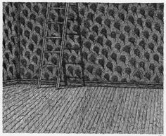 Edward Gorey drawing using a combination of stroke techniques