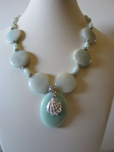 Amazonite Necklace with Shell pendant Beach Wedding by yasmi65, $33.00