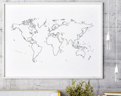Contorno del mapa de mundo | Esquema mapa mundial | Mapa de viajes | Mapa del mundo minimalista | Mapa del mundo mínimo | Mundo mapa arte | Mapa grande del mundo | Minimalista