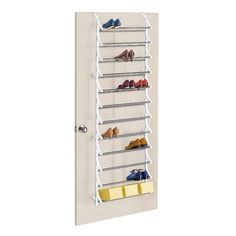 For the Home Lynk 36 Pair 12 -Tier Over Door Shoe Rack - White : Target One thing that is vitally im Shoe Rack Organization, Diy Shoe Rack, Shoe Organizer, Shoe Racks, Organization Ideas, Storage Ideas, Door Storage, Storage Spaces, Ribbon Storage
