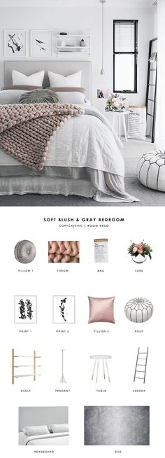 This soft, Scandinavian blush and gray bedroom by Oh Eight Oh Nine gets recreate. This soft, Scandinavian blush and gray bedroom by Oh Eight Oh Nine gets recreated for less by Copy Cat Chic luxe living for less room redo budget home. Bedroom Apartment, Home Decor Bedroom, Bedroom Bed, Bedroom Furniture, Bedroom Colors, Furniture Ideas, Design Bedroom, Apartment Living, Gray Furniture