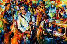 """Art Work Palette Knife Music Oil Painting On Canvas By Leonid Afremov - My Favorite Things. Size: 36"""" X 24"""" Inches (90cm x 60cm)"""