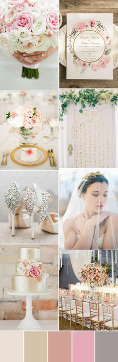pretty soft pink and gold wedding color palette