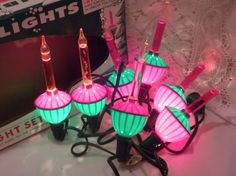 Christmas bubbling lights vintage 7 light set hard to by brixiana, $32.00