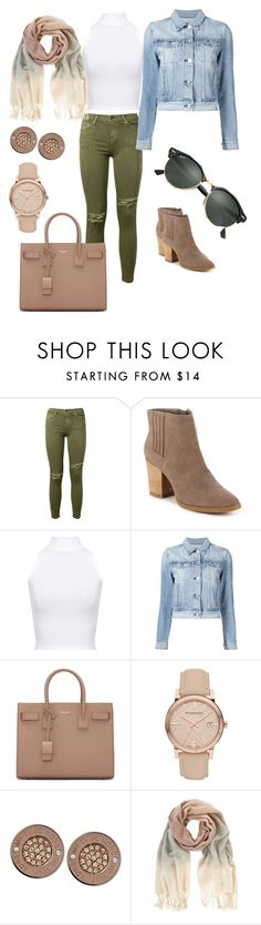 """Movie outfit"" by susy2jucy ❤ liked on Polyvore featuring Current/Elliott, Madden Girl, WearAll, 3x1, Yves Saint Laurent, Burberry, Michael Kors, Mint Velvet and Ray-Ban"