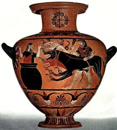 Cerberus on Caeretan hydria, 530 B.C. From Caere, Heracles, wearing his characteristic lion-skin, club in right hand, leash in left, presenting a three-headed Cerberus, snakes coiling from his snouts, necks and front paws to a frightened Eurystheus hiding in a giant pot. Louvre museum
