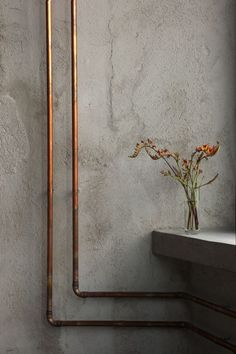 Concrete and copper wabi sabi style home inpiration villa design interior design bathroom design project design Dutch Designer Brand COCOON Industrial Bedroom, Industrial Interiors, Industrial Lighting, Industrial Style, Industrial Stairs, Modern Interiors, Industrial House, Interior Modern, Industrial Furniture