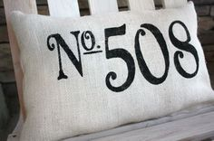 Outdoor pillow for the porch --with your house number on it