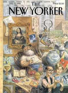 Peter de Sève, The New Yorker magazine cover, July The New Yorker, New Yorker Covers, Peta, Cover Art, Journal Vintage, Mona Lisa, Magazine Art, Magazine Covers, Vintage Magazines