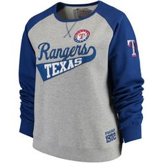 Women's Texas Rangers Soft as a Grape Gray/Royal Plus Size Payoff Pitch Color Blocked Sweatshirt