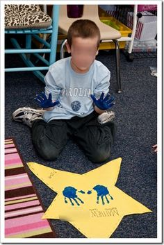 star student gets to print his/her handprints like a celebrity.