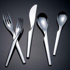 Yamazaki Alban - Stainless flatware for less at Silver Superstore Flatware Storage, Flatware Set, Kitchen Tools, Kitchen Decor, Kitchen Ideas, Kitchen Design, Contemporary Dinnerware, Modern Flatware, Food Storage Boxes