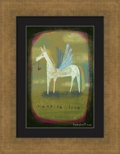 Pegasus Framed Print featuring the painting Receive Love by Marti McGinnis