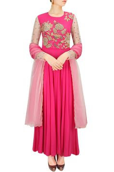 Pink floral jaal embroidered anarkali set BY BHUMIKA SHARMA.