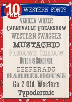 awesome free western fonts. can use these for party invitations and western party decorations!