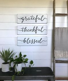 living room decor  grateful thankful blessed signs